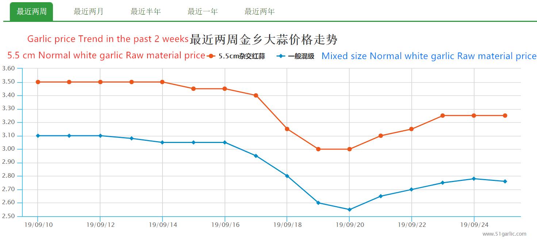 Tendencia del precio del ajo en las últimas 2 semanas